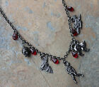 Halloween Horror Charm Black Necklace- crystal blood drops- bat witch zombie cat