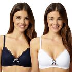 Debenhams Womens Pack Of Two White And Navy Spotted Non Wired T-Shirt Bras