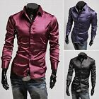 Classic Luxury Men's Slim Fit Long Sleeve Shiny Casual Dress Shirt Tops Stylish