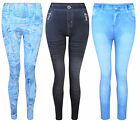 WOMENS LADIES LEGGINGS DENIM LOOK STRETCH ONE SIZE 8-14 BNWT