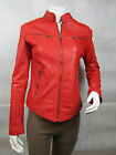 Ladies Women Real Leather Red Jacket New Biker Style Rock Design Slim Fitted