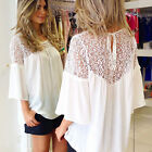 White Lace Plus Size Women's Casual Sexy T Shirt 3/4 Sleeve Loose Blouse Tops