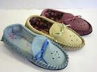 LADIES MOCCASIN SLIPPERS REAL SUEDE MOCCASIN PUNCHED