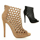 LAMAR CAGED HIGH HEELS LADIES SANDALS WOMENS STRAPPY ANKLE BOOTS BOOTIES SIZE