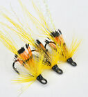 Allys Shrimp Yellow x 3 salmon flies - doubles and trebles sizes 8, 10 and 12