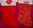 16  INCH CHRISTMAS  STOCKING ** RED HEARTS/ GREEN HOLLY ** NEW ** SO PRETTY **