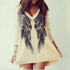 Womens Loose Oversized Long Batwing Sleeve Tops Angel Wing Print Cardigan Blouse
