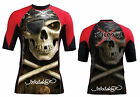 Woldorf USA Half Sleeve MMA Board Rash Guard Polyester Pirate Skull Red L