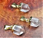 Quartz Necklace - Faceted Petite Crystal Point Pendant (A11) 14k Gold Plated