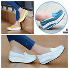 Women's Ladies Leather Casual Wedge Platform Trainers Size UK 2.5-6.5