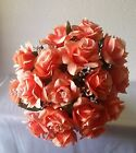 Coral Rose with Rhinestone Nosegay Bridal Wedding Bouquet & Boutonniere