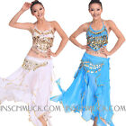 C810 Belly Dancing Costume with 3 Piece Upper Top Skirt Cap belt Shawl
