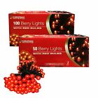 100 & 50 Berry Lights With Red Bulbs for Christmas & Xmas Decorations