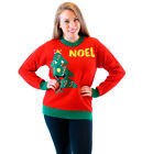 Adult Noel Light Up Smiling Christmas Tree Red Ugly Christmas Party Sweater