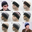 Men Women Knitted Crochet Ski Beanie Hats Stripe Winter Warm Outdoor Sports Cap