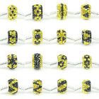 Black Yellow Crystal 925 Sterling Silver Core European Charm Beads Fit Bracelet