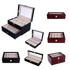 Watch Box Leather Orgnizer Gift Collection Display Storage Case Clear Top Wood