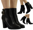 WOMENS LADIES BUCKLE CHUNKY HIGH BLOCK HEEL OFFICE WORK ANKLE BOOTS SHOES SIZE