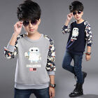 Fashion Boys High Quality Cotton Blend Casual Pullover T-Shirt Blue Gray 3-10Y