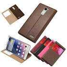 For OPPO R7 Plus/S View Window Sleep Function Stand Case Genuine Leather Cover