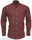 Relco Mens Burgundy Abstract 60's Patterned Long Sleeved Button Down Shirt NEW