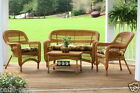 Outdoor Patio Furniture 4 Piece Amber Wicker Portside Seating Set with Cushions