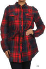 PLUS SIZE Plaid Flannel Waist Tie Long Sleeve Button Shirt Women Blouse Red Navy