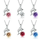 Women 925 Sterling Silver Rhinestone Jumping Dolphins Pendant Chain Necklace BAT