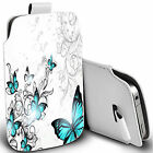 pu leather pull tab pouch case for majority Mobiles  blue winged butterfly pouch