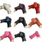 Ladies Womens Soft Real Genuine Leather Fur Lined Warm Winter Gloves  Bow Cut