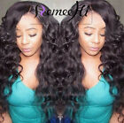Remeehi sexy body curly wavy 100% Brizilian remy human hair full/front lace wigs