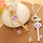 Vogue Women Gold Silver Love Heart Key Pendant Long Chain Necklace Jewelry New