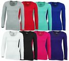 Women's Solid color basic Scoop neck Long sleeve shirt PLUS too