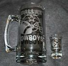 DALLAS COWBOYS BEER MUG OR SHOT GLASS OR GET BOTH HAND ETCHED (NEW).