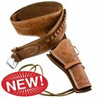 Deluxe Fast Draw Tooled Tan Leather Western Holster for Most Western Pistols