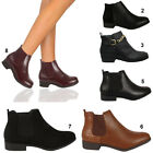 LADIES FLAT ANKLE BOOTS WOMENS BIKER CHELSEA RIDING ANKLE PIXIE BLACK BOOTS SIZE