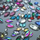 Mixed Sizes&Colors Navette Rhinestones Sew On Flatback Crystal Glass 2 Holes