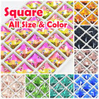(Small Qty) Square 3240 Glass All Size Color Crystal Flatback Sew On Rhinestones