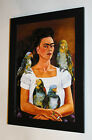 Frida Kahlo painting I and my parrots canvas print framed 7X9&10X13