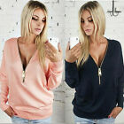 UK Womens Jumpers Pullover Tops Blouse Ladies V-Neck Long Sleeve Hoodie Zip Up