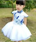 Girls Kids Toddler Blue And White Porcelain Multi-Layer Tulle Pompon Dress D575