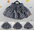 New Kids Toddlers Girls Lovely Bow Dots Lined Pompon Tutu Skirts 3-7 Y D121