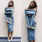 Womens Winter Bodycon Casual Party Evening Cocktail Long Sleeve Mini Long Dress