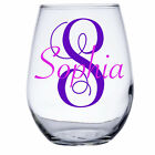 Monogram and Name Personalized Wine Glass