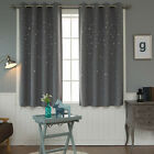 "Faux Linen Stars Cutting Out Blackout Curtains Eyelet Grommet 102""W X 67""H Pair"