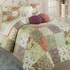 BEAUTIFUL XXXL VINTAGE GREEN BLUE PINK ROSE IVORY PATCHWORK BEDSPREAD QUILT SET image
