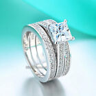 Fine 925 Sterling Silver 3-Pcs Engagement Ring Princess Cut Simulated Diamond