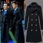 Men's Military Double Breasted Wool Blend Winter Warm Long Trench Coat Jackets99
