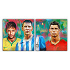 Messi Neymar Ronaldo Soccer Poster painting CANVAS GICLEE PRINT (2 panel)