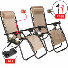 2 Zero Gravity Folding Lounge Chairs W/Drink Holder Beach Patio Outdoor Recliner
